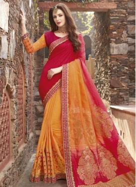 Orange and Red Beads Work Half N Half Saree
