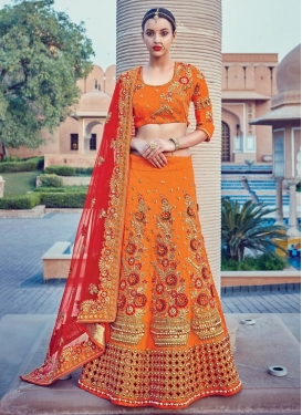 Orange and Red Beads Work Lehenga Style Saree