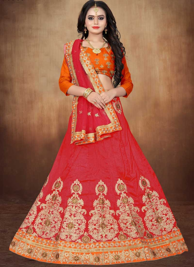 Orange and Red Booti Work A Line Lehenga Choli