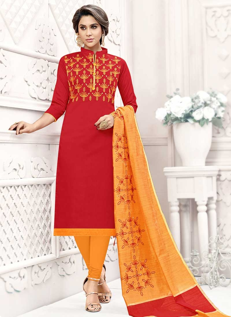Orange and Red Churidar Salwar Kameez