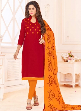 Orange and Red Churidar Salwar Suit For Casual