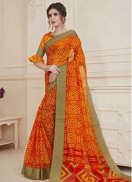 Orange and Red Classic Saree