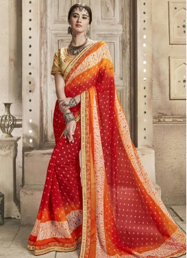 Orange and Red Contemporary Saree