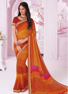Orange and Red Contemporary Style Saree