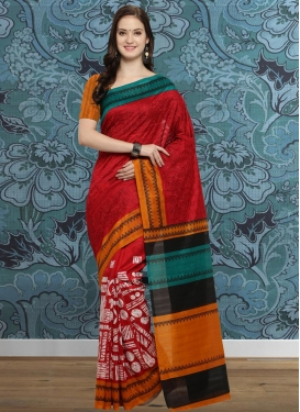 Orange and Red Contemporary Style Saree For Casual