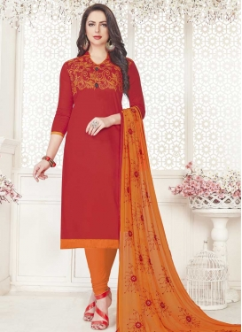 Orange and Red Cotton Churidar Salwar Suit