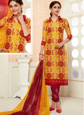 Orange and Red Cotton Churidar Suit