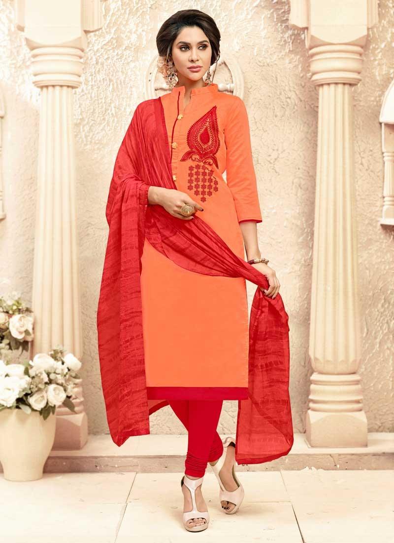 Orange and Red Cotton Trendy Churidar Salwar Kameez