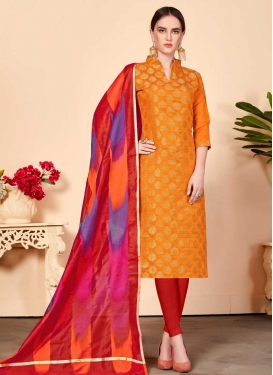 Orange and Red Cotton Trendy Churidar Salwar Suit