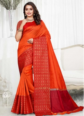 Orange and Red Designer Contemporary Saree
