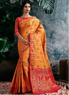 Orange and Red Designer Contemporary Style Saree For Festival