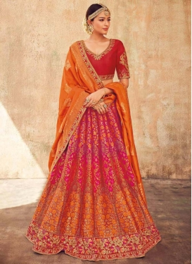 Orange and Red Embroidered Work A - Line Lehenga