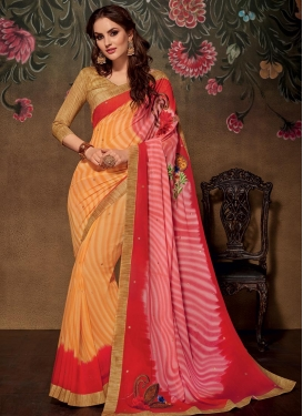 Orange and Red Embroidered Work Contemporary Saree