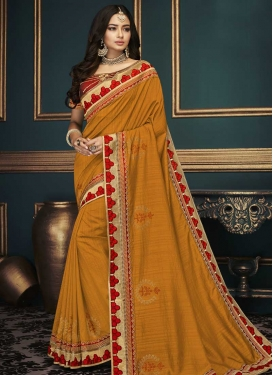 Orange and Red Embroidered Work Contemporary Style Saree