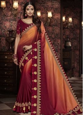 Orange and Red Embroidered Work Satin Silk Traditional Designer Saree