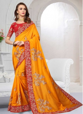 Orange and Red Embroidered Work Traditional Designer Saree