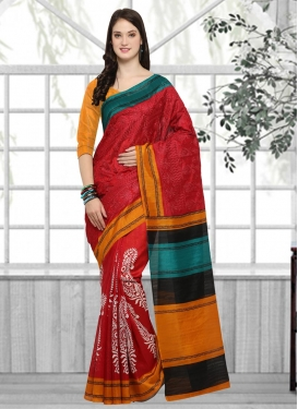 Orange and Red Embroidered Work Traditional Saree