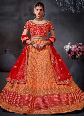 Orange and Red Embroidered Work Trendy A Line Lehenga Choli