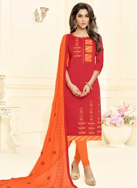 Orange and Red Embroidered Work Trendy Churidar Suit