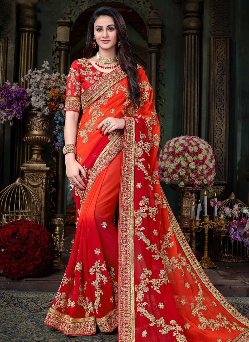 Orange and Red Embroidered Work Trendy Saree