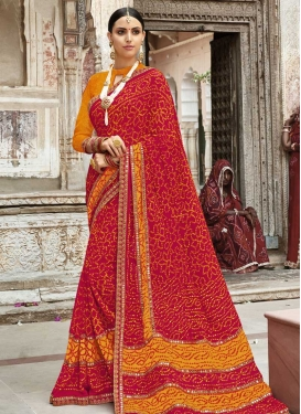 Orange and Red  Faux Georgette Designer Traditional Saree