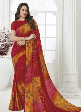 Orange and Red Faux Georgette Traditional Designer Saree