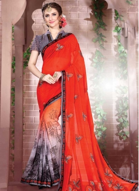 Orange and Red Faux Georgette Trendy Saree