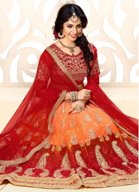 Orange and Red Net Trendy A Line Lehenga Choli
