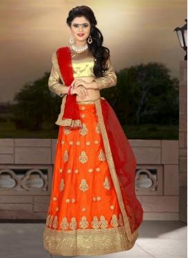 Orange and Red Net Trendy Lehenga Choli