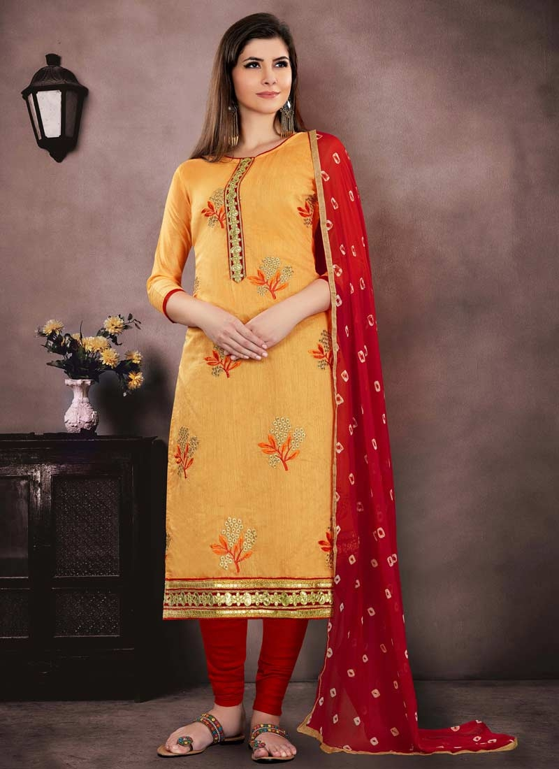 Orange and Red Pakistani Straight Salwar Suit For Ceremonial
