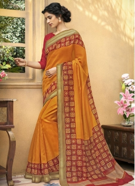 Orange and Red Print Work Contemporary Saree