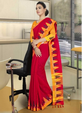 Orange and Red Print Work Traditional Designer Saree