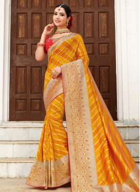 Orange and Red Silk Designer Traditional Saree