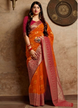Orange and Red Thread Work Designer Contemporary Saree