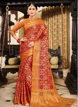 Orange and Red Thread Work Trendy Saree