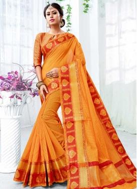 Orange and Red Traditional Designer Saree For Ceremonial