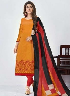 Orange and Red Trendy Churidar Suit