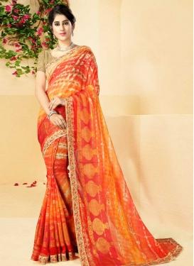 Orange and Red Trendy Classic Saree