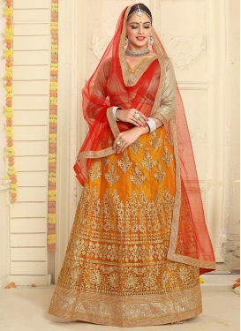 Orange and Red Trendy Lehenga Choli For Ceremonial