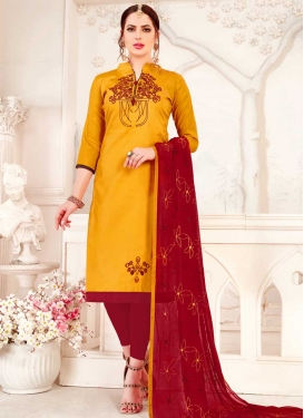 Orange and Red Trendy Straight Salwar Kameez