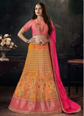 Orange and Rose Pink A Line Lehenga Choli For Festival