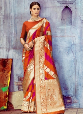 Orange and Rose Pink Art Silk Classic Saree