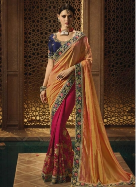 Orange and Rose Pink Art Silk Half N Half Trendy Saree