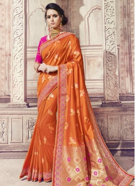 Orange and Rose Pink Banarasi Silk Trendy Saree