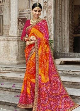 Orange and Rose Pink Bandhej Print Work Classic Saree