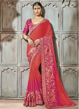 Orange and Rose Pink Beads Work Contemporary Style Saree