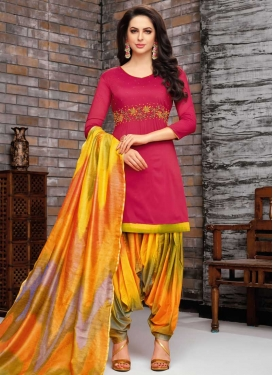Orange and Rose Pink Beads Work Designer Patiala Salwar Suit