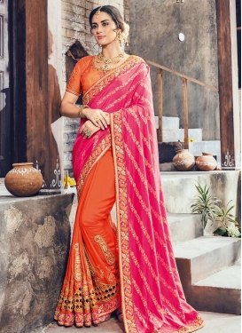 Orange and Rose Pink Beads Work Half N Half Trendy Saree