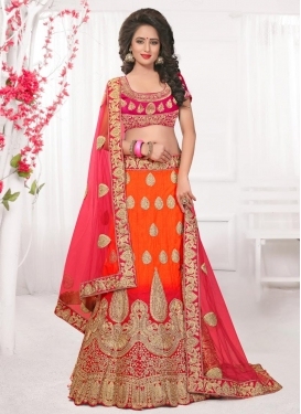 Orange and Rose Pink Booti Work Designer Classic Lehenga Choli
