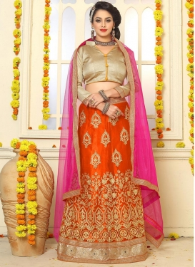 Orange and Rose Pink Booti Work Net Trendy Lehenga
